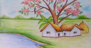 صور رسم منظر طبيعي باليد , الرسم من الفنون الجميله
