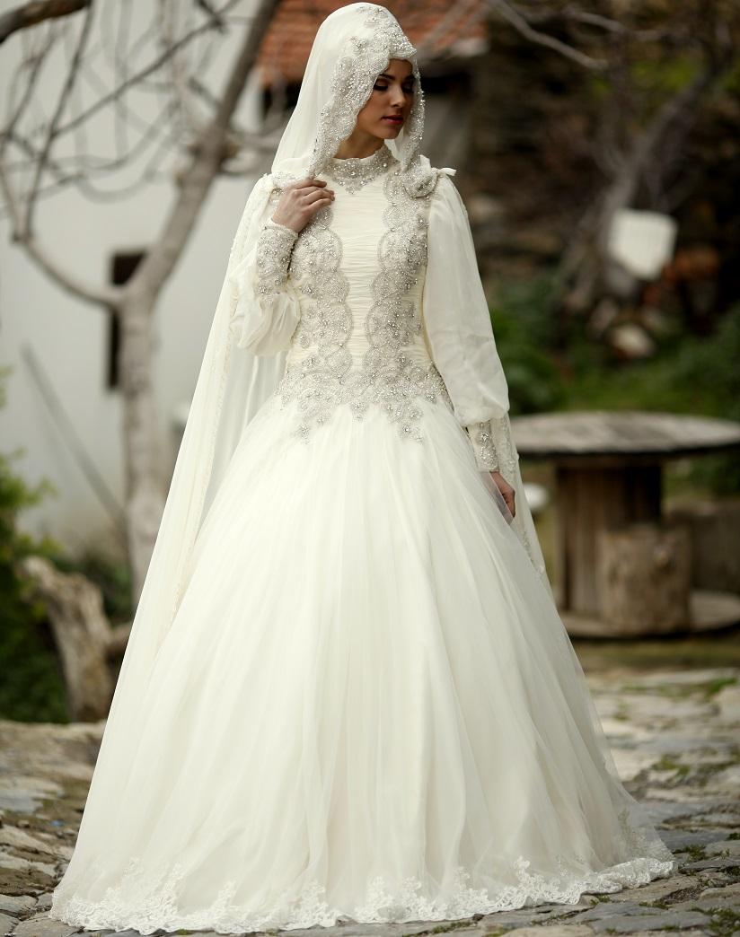بالصور صور عرايس محجبات , اجمل صور لموديلات فساتين زفاف محجبات 3460 11