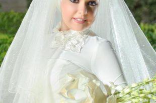 صوره صور عرايس محجبات , اجمل صور لموديلات فساتين زفاف محجبات