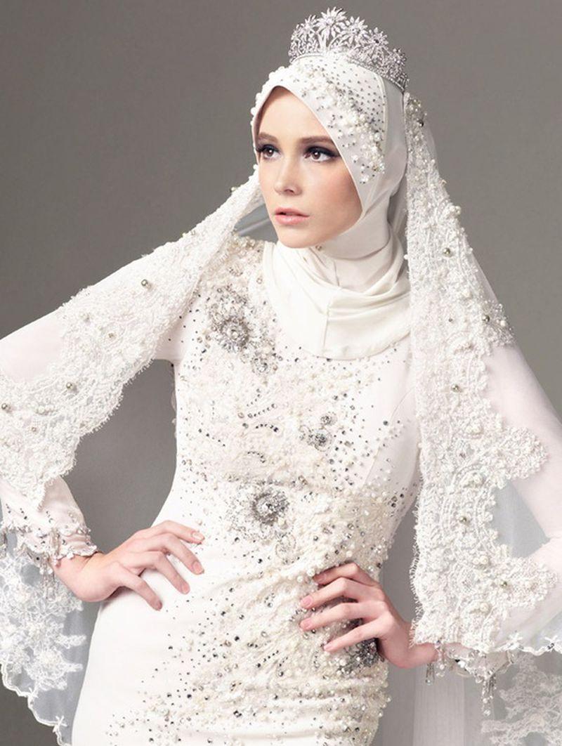 بالصور صور عرايس محجبات , اجمل صور لموديلات فساتين زفاف محجبات 3460 5