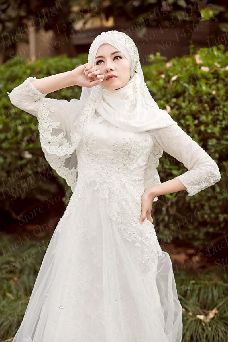بالصور صور عرايس محجبات , اجمل صور لموديلات فساتين زفاف محجبات 3460 9