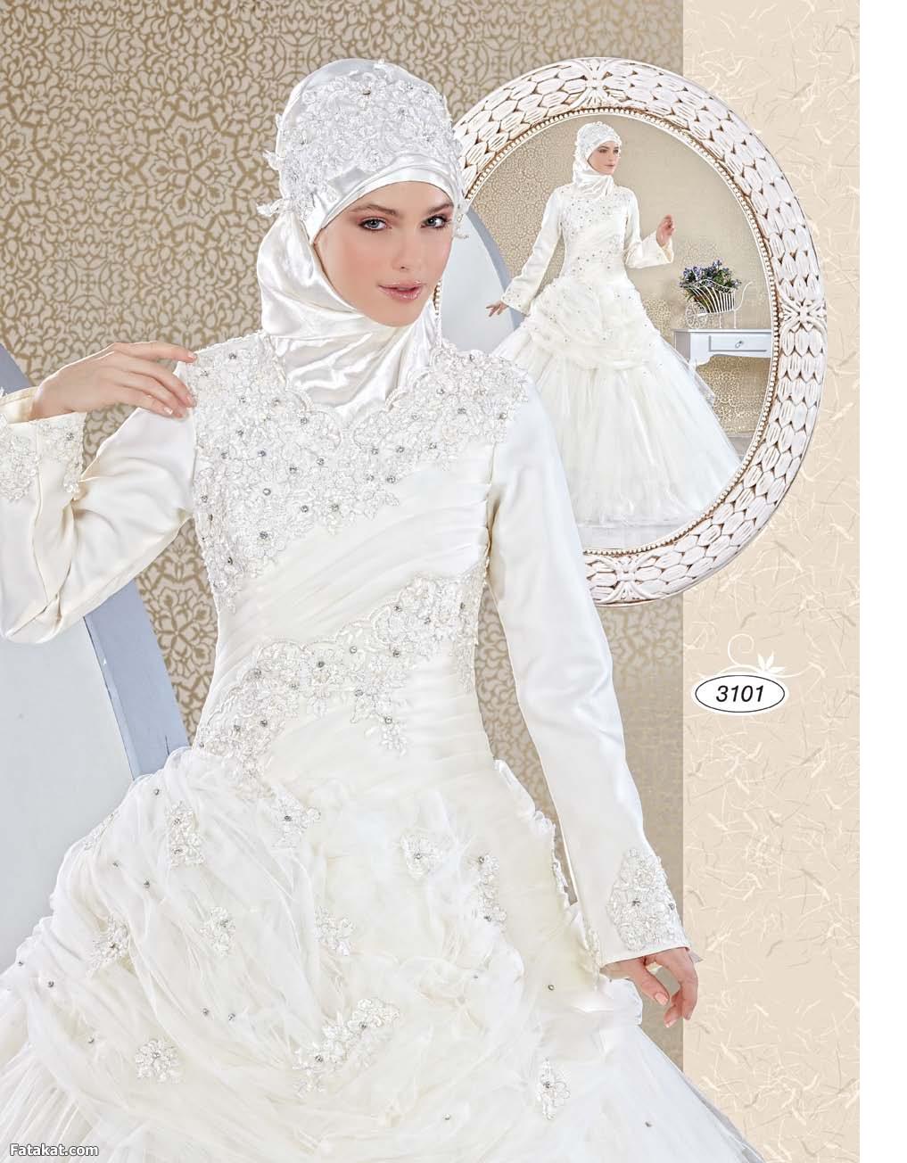 بالصور صور عرايس محجبات , اجمل صور لموديلات فساتين زفاف محجبات 3460