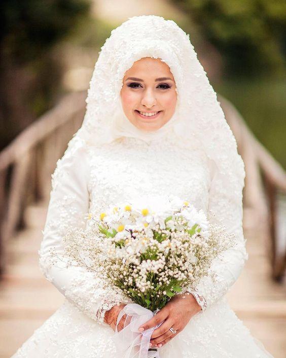بالصور فساتين اعراس للمحجبات , صور اجمل عروسه محجبه 5407 4