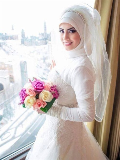 بالصور فساتين اعراس للمحجبات , صور اجمل عروسه محجبه 5407 5