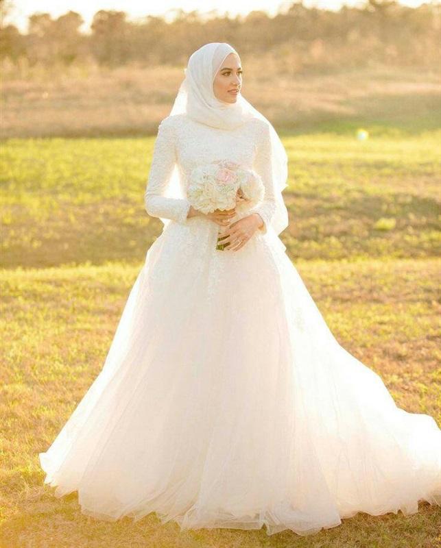 بالصور فساتين اعراس للمحجبات , صور اجمل عروسه محجبه 5407 7