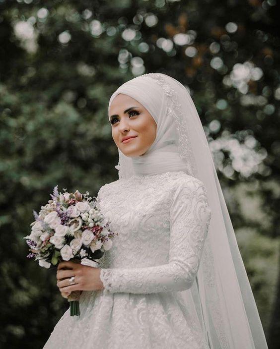 بالصور فساتين اعراس للمحجبات , صور اجمل عروسه محجبه 5407 9