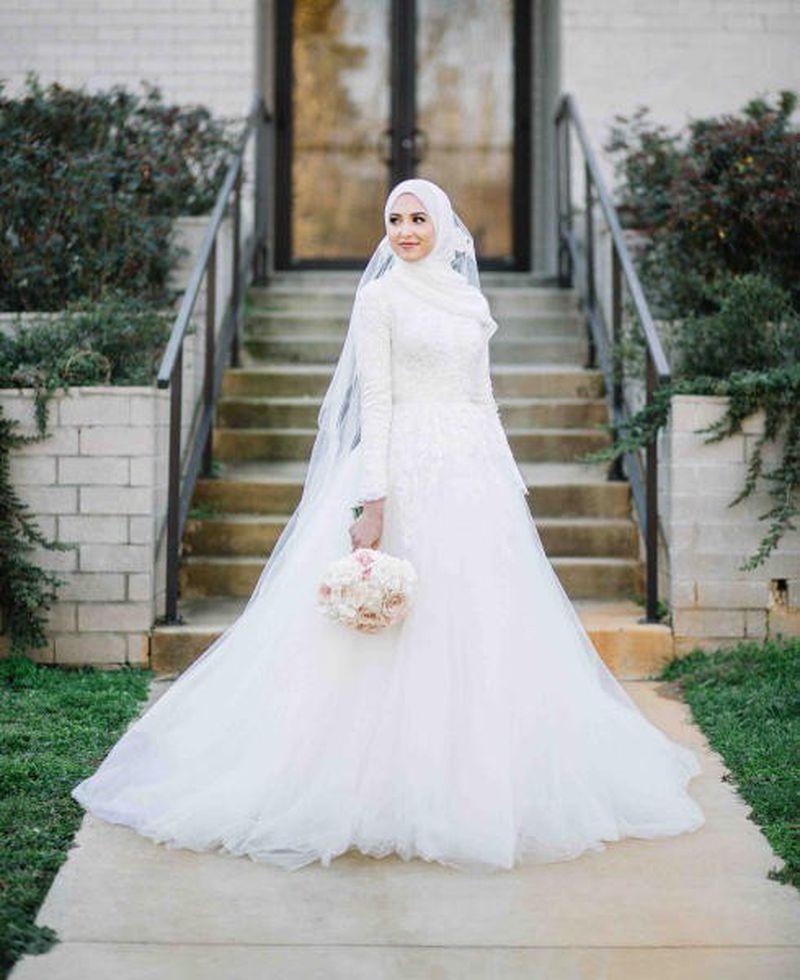 بالصور فساتين اعراس للمحجبات , صور اجمل عروسه محجبه 5407