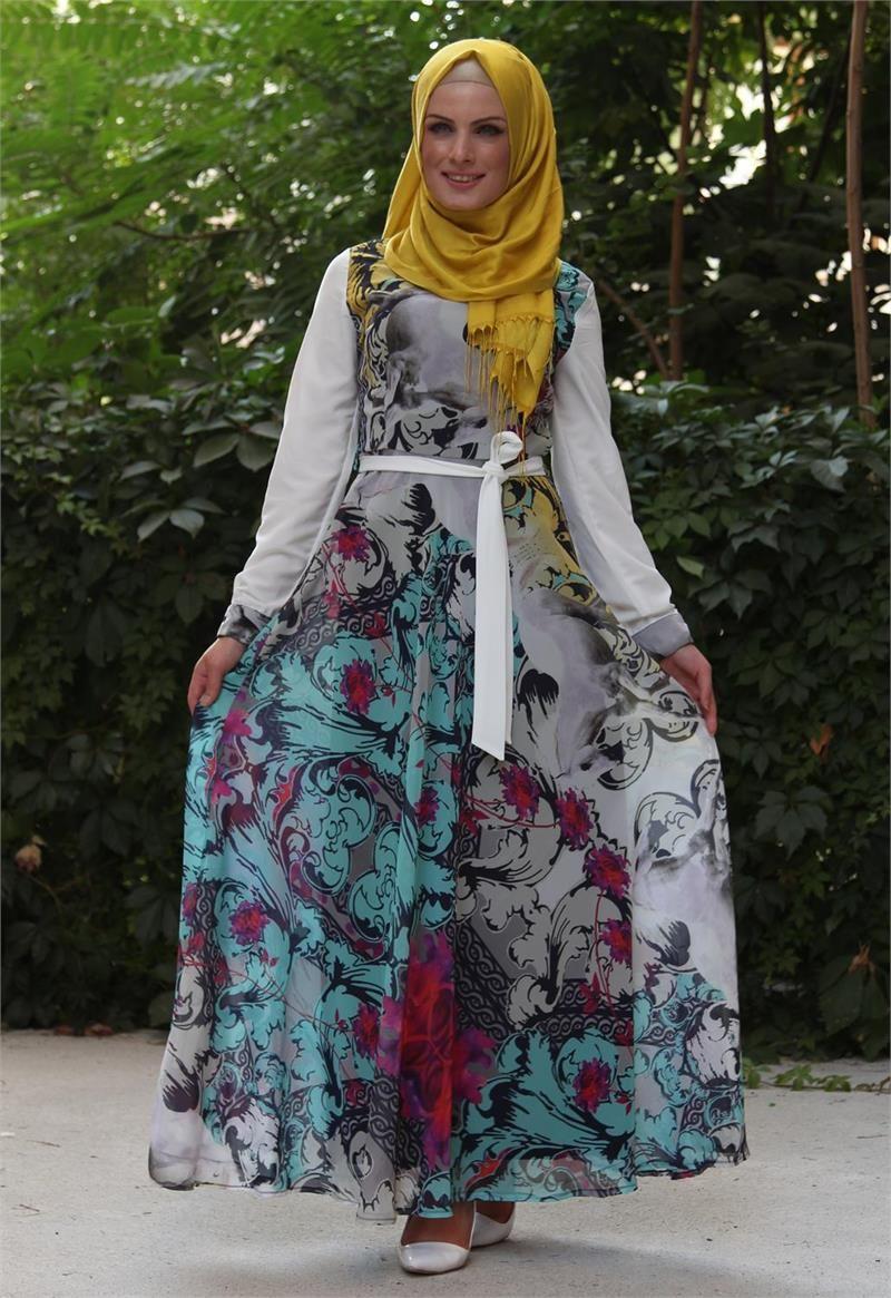 صورة موديلات فساتين للمحجبات , موضة الفساتين للمحجبات 2019