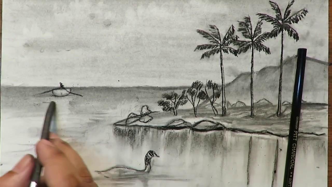 صور رسم منظر طبيعي , مناظر خلابه ترسم باليد
