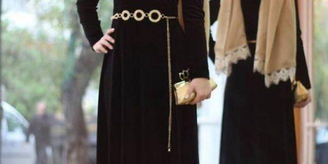 صورة اجمل الفساتين للمحجبات , اشيك انواع الفساتين للمحجبات